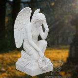 Ange sculpté à la main de marbre blanc de la Sculpture