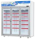 Supermercado Freezer vertical da porta de vidro Comercial Bebidas Exibir Frigorífico