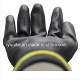 Черный полиэстер PU покрытием защитные перчатки