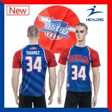 Il prezzo di fabbrica di Healong con l'alta qualità mette in mostra le magliette degli uomini di stampa di scambio di calore dell'attrezzo dell'abito