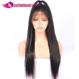 100% 인간 밍크 머리 흑발 똑바로 가득 차있는 레이스 가발