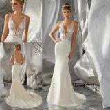 섹시한 V 목 레이스 Sequins 공단 인어 신부 드레스 결혼 예복 (6870)