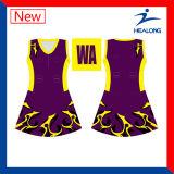 Healong China Hersteller kleidet Sublimation-Damennetball-Uniformen für Verkauf