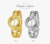 Montres Lune-Shaped de bijou de batterie de quartz de courroie de bracelet de dames de Belbi de montre-bracelet de double de disque de côté en acier luxueux de vitesse pour des femmes