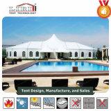 Barraca elevada do frame máximo do telhado branco luxuoso ao ar livre para casamentos