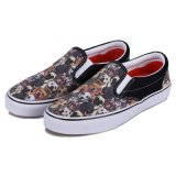 カスタマイズされたPrinted BlackかShoesのWhite Flowers Mens/Womens Canvas SLIP