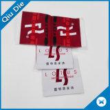 Escrituras de la etiqueta tejidas Caliente-Corte del doblez del triángulo para la ropa