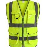 Correas reflexivas de los altos de la visibilidad bolsillos baratos de la seguridad en carretera que trabajan el chaleco