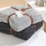 Cor 100% morna macia super do cobertor do Throw do Knit do cabo do algodão multi