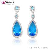 29910の方法優雅な中心CZのダイヤモンドロジウム-めっきされた模造宝石類のイヤリングの低下