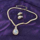 Conjunto cristalino plateado oro de la joyería de la boda del pendiente y del collar de la manera