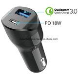 携帯電話のための18W Qualcomm 3.0の電源を持つ熱い販売18Wの速い料金のタイプC USBのアダプター車のタバコの充電器