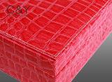 Caja de cristal de la joyería de Croco Grian del espejo de cuero rosado de la PU