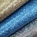 O couro do plutônio do mel do Glitter, mel Textured a matéria têxtil de couro decorativa