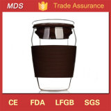 Tazza di tè di vetro doppia dell'alto Borosilicate con il silicone ed il coperchio