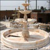 Three Tired Light Sunset Red Marble Fountain pour artisanat Mf-472