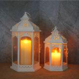 معدن بيضاء [لد] فانوس مع شمعة لأنّ بيتيّة زخرفة وحديقة حلى