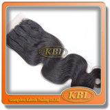 Реальные естественные Silk верхние русые части закрытия шнурка 5*5