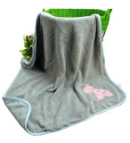 Velo de coral de cor sólida manta para bebé com Applique