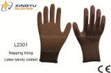 Подкладка раковины полиэфира Napping, перчатка работы безопасности Sandy латекса покрытая (L2301)