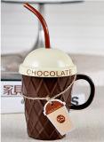 Tazza di caffè creativa della porcellana di Deisgn con il coperchio ed il cucchiaio per il commercio all'ingrosso