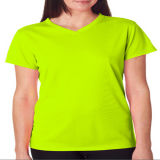 Mulheres V Neck Polyester Dri Fit Blank T-Shirt