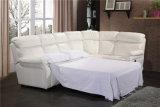 リクライニングチェアのソファーベッドが付いている白いカラー革コーナーのソファー