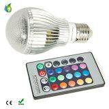 RGB LED 전구 Dimmable 램프 E27 GU10 E14 B22 AC85V-265V 원격 제어 KTV 당 점화