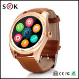 2017心拍数のモニタの身につけられる装置との人間の特徴をもつ電話およびISOのiPhoneのための新しくスマートな腕時計K89円形のBluetoothのスマートな腕時計の電話