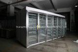Weg im Glastür-Kühlraum für Bildschirmanzeige-Getränke milk und trägt Früchte