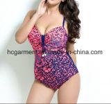 Крупноразмерный Swimsuit для женщин, износ печати леопарда заплывания Плюс-Размера цельный