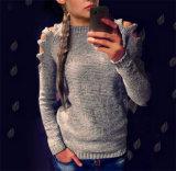 2017 Nova Moda Feminina de ombro irregulares pulôver gargalo redondo
