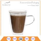 Tazza di caffè di vetro stampata abitudine con il coperchio
