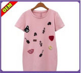 Women (W286)를 위한 형식 Sexy Cotton Printed T-Shirt