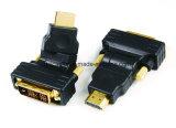 Varón de DVI 24+1 al varón de HDMI adaptador giratorio de 270 grados
