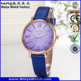 Klassisches Geschäfts-kundenspezifische Firmenzeichen-Uhr-Leder-Legierungs-Uhr (Wy-107E)