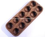 Coutume plateau en bois de mémoire d'oeufs de noix de 10 paquets