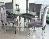まっすぐな背部が付いている椅子を食事する現代フランスのルイの灰色の銀製のビロードファブリック