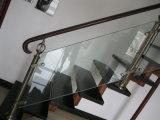 Escadaria específica com a longarina do aço inoxidável dos Ss e o corrimão de madeira