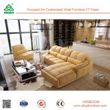 現代木製のオフィス用家具のソファーおよび革ソファーのクッションの家具、ファブリックソファー映像