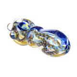 Tubo de oro de la mano del tubo de la cuchara del tubo que fuma de la raya azul del tubo de cristal