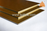 Panneau de façade d'ACP de délié balayé par balai d'or argenté de miroir d'or