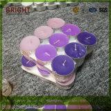 Aromáticas de colores velas Tealight en bordes de la base de aluminio
