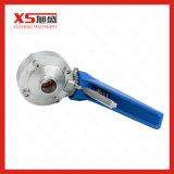 Válvulas de borboleta sanitárias da solda de extremidade do aço inoxidável com punho do prendedor