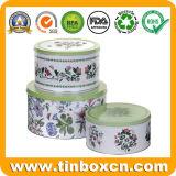 Caja de regalo de metal Packaging latas pastel redondo para el almacenamiento de alimentos