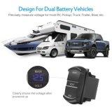 Panel-Doppelt-Voltmeter LED-Digital, Wippenschalter-Art-Kontrollempfänger-Blau für Auto-Aufnahme RV-LKW-Doppelbatterie-Satz