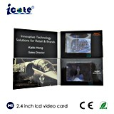 Pantalla del LCD tarjeta video del folleto video de 2.4 pulgadas para el saludo/el regalo/hacer publicidad