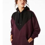 Contraste de gran tamaño Hoodie del hombro de la gota de la fábrica de las mujeres de la ropa