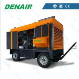 Compresor de aire movible diesel del tornillo Ued para la máquina del hormigón proyectado