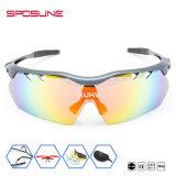 La bicicleta de encargo de Dropship de la marca de fábrica que competía con los vidrios de Sun de los deportes polarizó la lente UV400 Eyewear para el deporte al aire libre